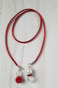 Handmade Red and White Planner Dangle Charms Bookmark