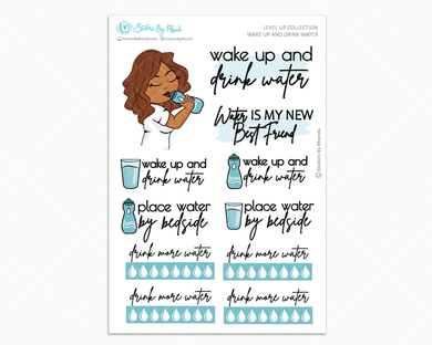 Mia - Wake Up and Drink Water - Planner Girl - Level Up Habit Planner Stickers