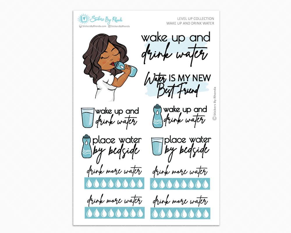 Tanya - Wake Up and Drink Water - Planner Girl - Level Up Habit Planner Stickers