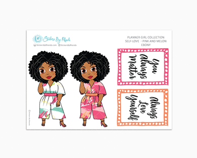 Ebony - Self-Love - Pink and Melon - Limited Edition - Planner Stickers