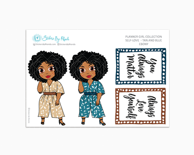 Ebony - Self-Love -Tan and Blue - Limited Edition - Planner Stickers