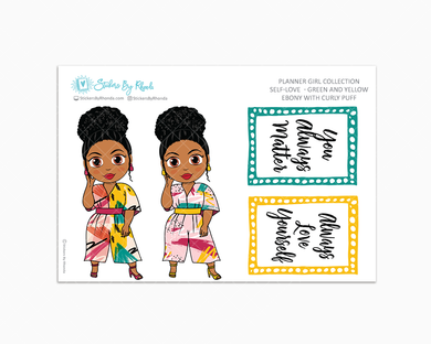 Ebony With Curly Puff - Self-Love - Green and Yellow - Limited Edition - Planner Stickers