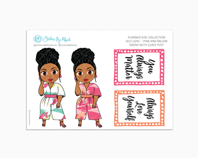 Ebony With Curly Puff - Self-Love - Pink and Melon - Limited Edition - Planner Stickers