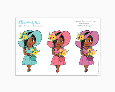 Jackie With Locs - Spring Fancy - Limited Edition - Planner Girl Collection - Planner Stickers