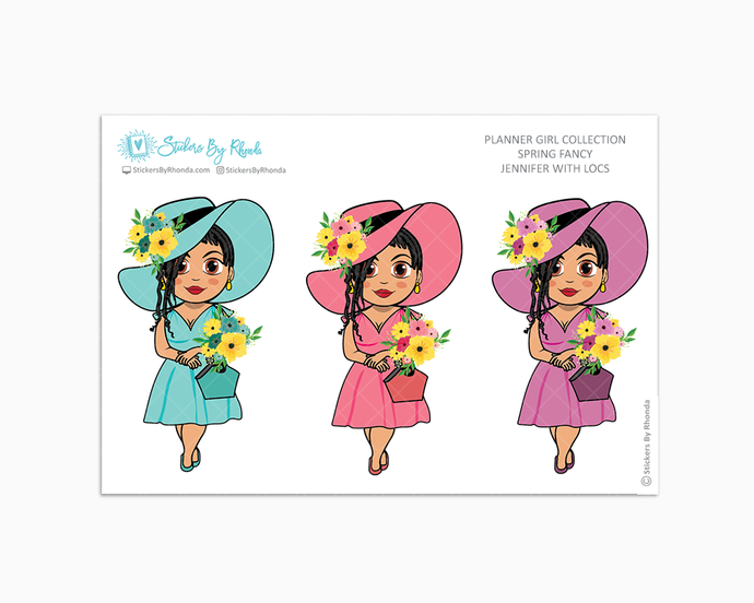 Jennifer With Locs - Spring Fancy - Limited Edition - Planner Girl Collection - Planner Stickers