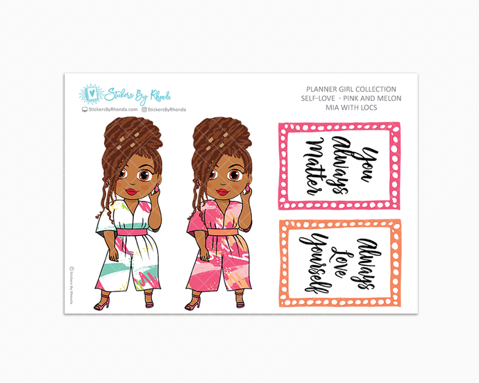 Mia With Locs - Self-Love - Pink and Melon - Limited Edition - Planner Stickers