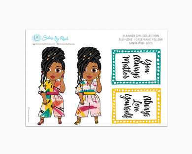 Tanya With Locs - Self-Love - Green and Yellow - Limited Edition - Planner Stickers