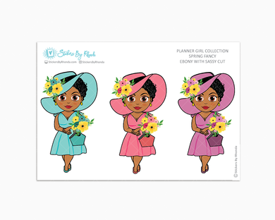 Ebony With Sassy Cut - Spring Fancy - Limited Edition - Planner Girl Collection - Planner Stickers
