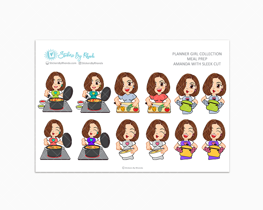 Amanda With Sleek Cut - Meal Prep/Cooking Planner Stickers