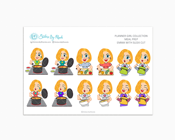 Emma With Sleek Cut - Meal Prep/Cooking Planner Stickers