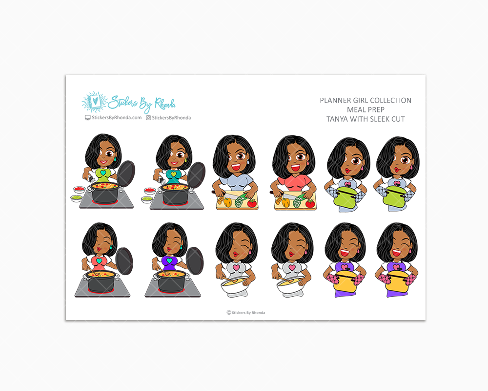 Tanya With Sleek Cut - Meal Prep/Cooking Planner Stickers
