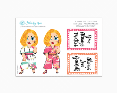 Emma With Sleek Cut - Self-Love - Pink and Melon - Limited Edition - Planner Stickers