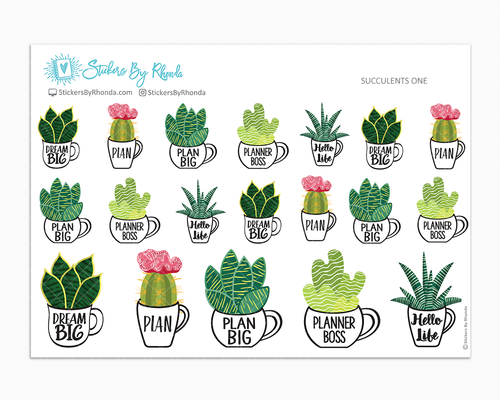 Succulents One - Decorative Planner Stickers