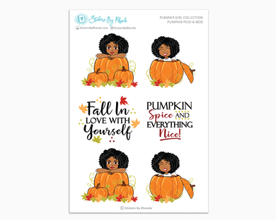 Ebony - Pumpkin Peek-A-Boo Planner Girl Stickers