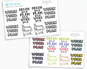 Work Your Plan - Typography Stickers - Planner Stickers - Decorative