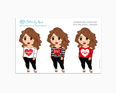 Amanda - Love and Kisses - Limited Edition - Planner Girl Collection - Valentine's Day Stickers