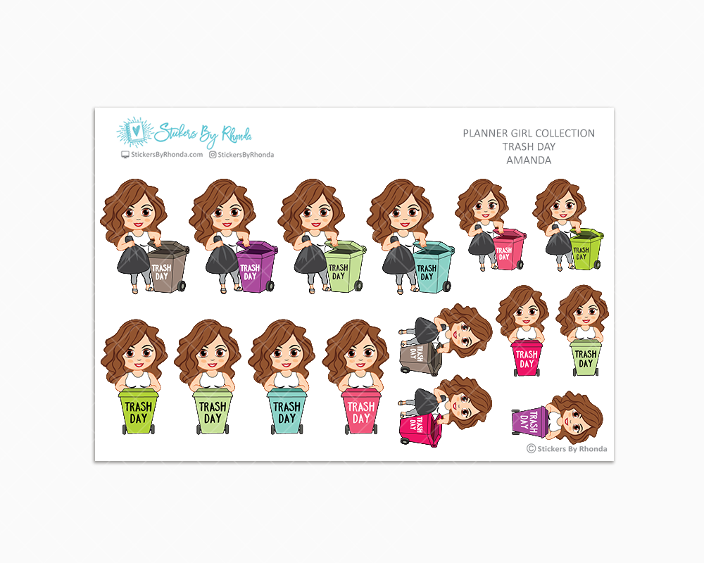 Amanda  - Trash Day  - Take Out The Trash - Planner Stickers