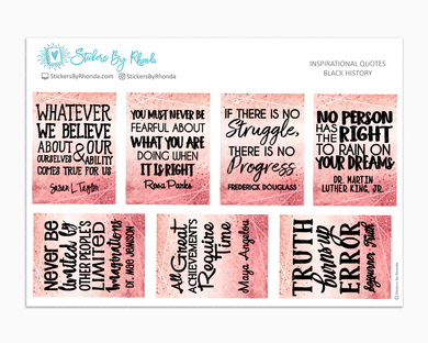Black History Quotes - Typography Stickers - Planner Stickers