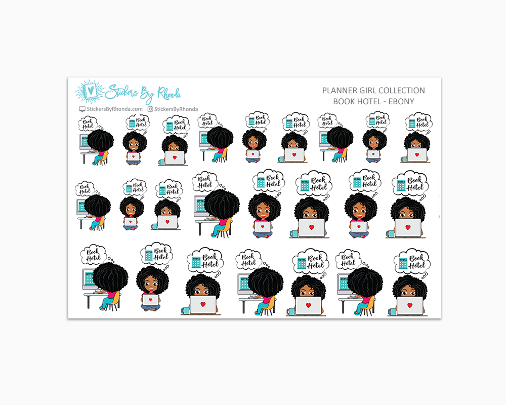 Travel/Book Hotel Planner Stickers - Ebony