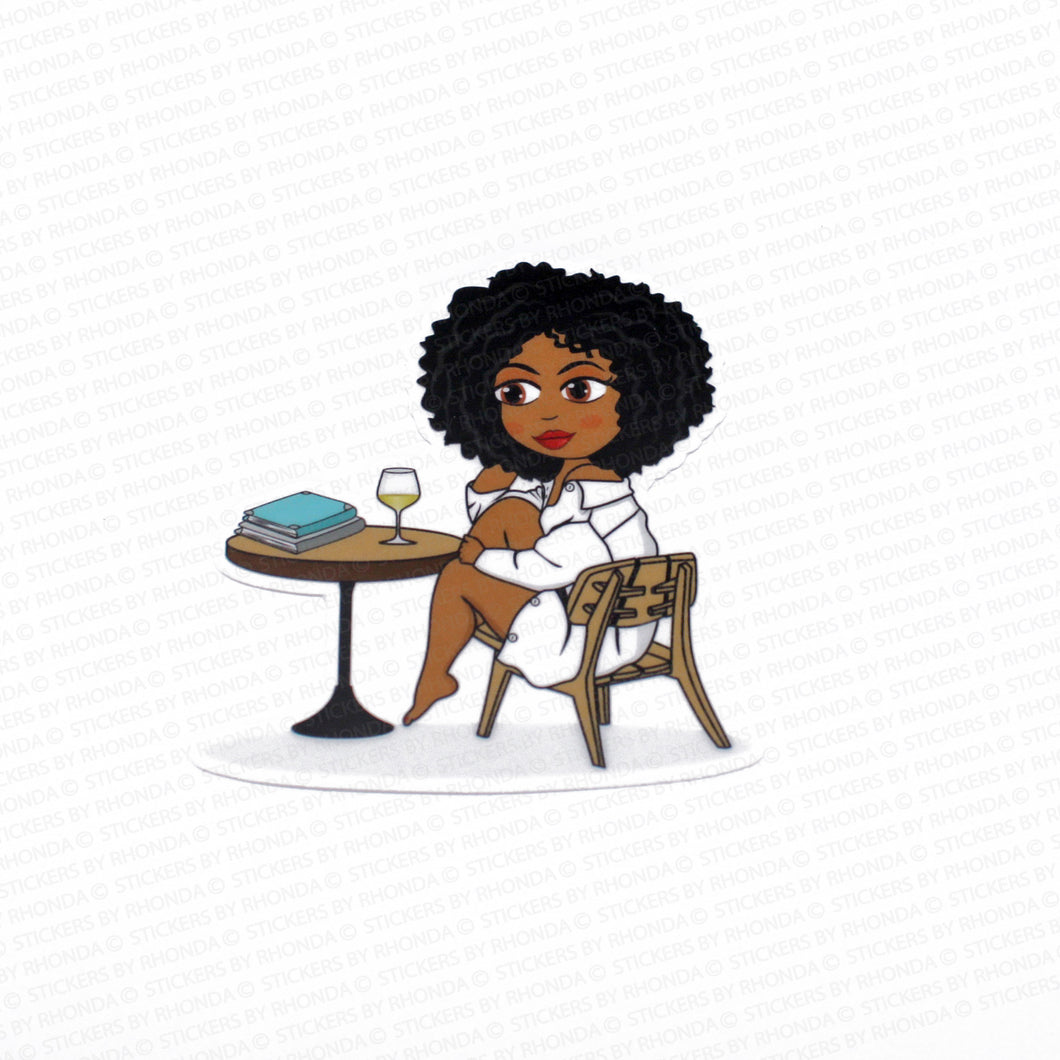 Ebony Chillaxing With Wine - Large Clear Durable Vinyl Decal Sticker