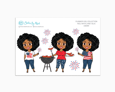 Ebony - Red, White & Blue Glossy Stickers - Holiday Stickers - Planner Girl Collection - Planner Stickers