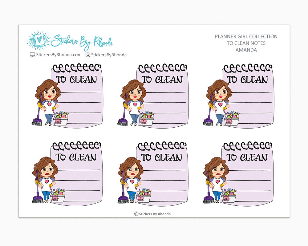Amanda - To Clean Notes - Planner Stickers - Planner Girl Stickers