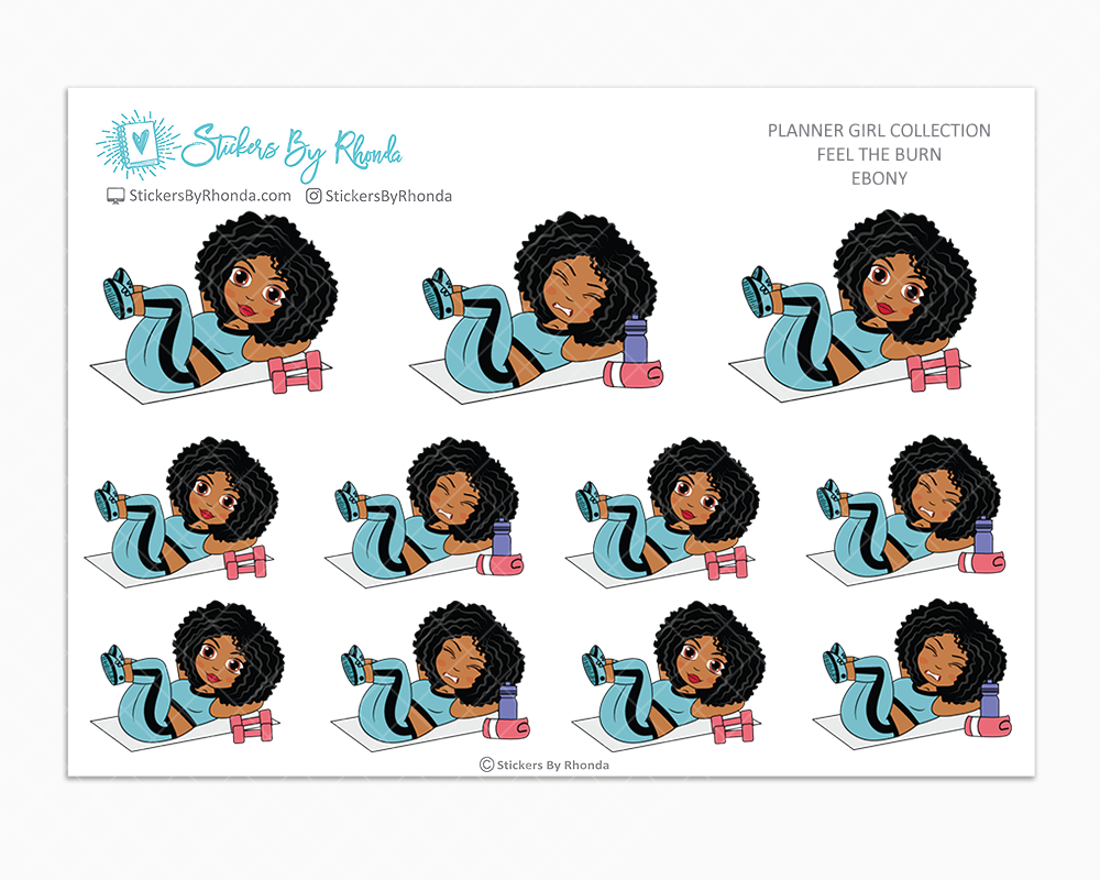 Ebony - Feel The Burn - Fitness Planner Stickers - Exercise Planner Stickers