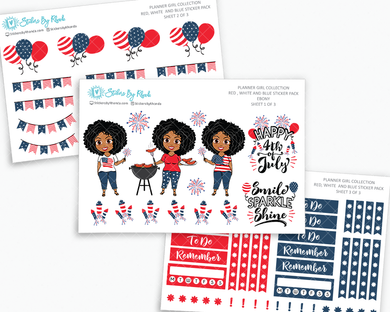 Ebony - Red, White & Blue Matte Planner Stickers - Planner Girl Collection - Plan Outside The Box Sticker Pack