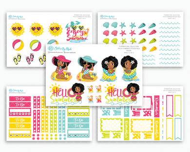 Ebony - Hello Summer Matte Planner Stickers - Planner Girl Collection
