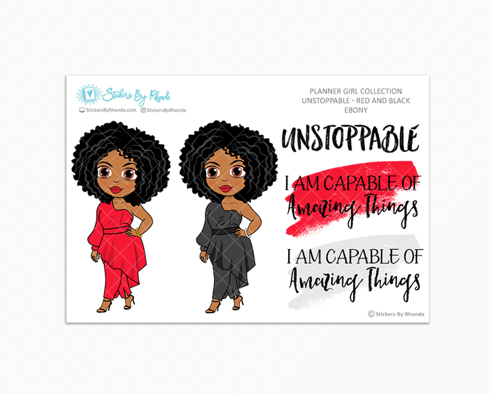 Ebony - Unstoppable - Red & Black - Limited Edition - Quote Stickers - Planner Girl Collection - Planner Stickers