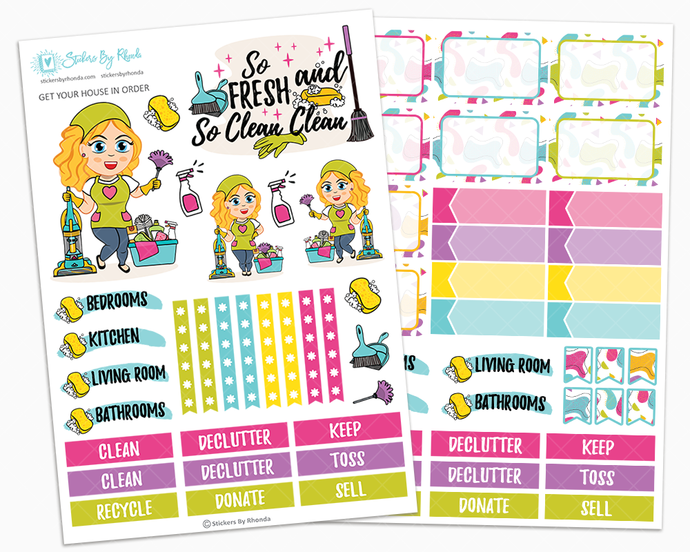 Emma - Get Your House In Order - Two Page Sticker Kit - Cleaning Stickers