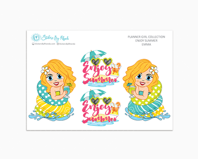 Emma - Enjoy Summer Glossy Stickers - Limited Edition - Planner Girl Collection - Planner Stickers
