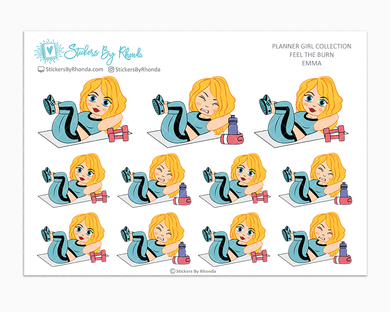 Emma - Feel The Burn - Fitness Planner Stickers - Exercise Planner Stickers