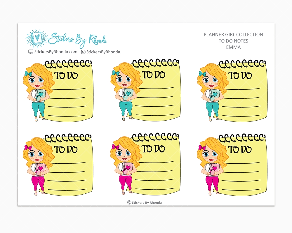 Emma - To Do Notes - Planner Stickers - Planner Girl Stickers