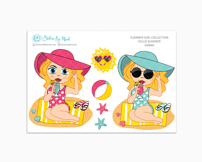 Emma - Hello Summer Glossy Stickers - Limited Edition - Planner Girl Collection - Planner Stickers