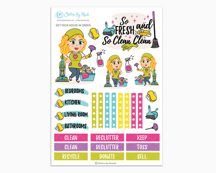 Emma - Get Your House In Order - One Page Sticker Kit - Cleaning Stickers