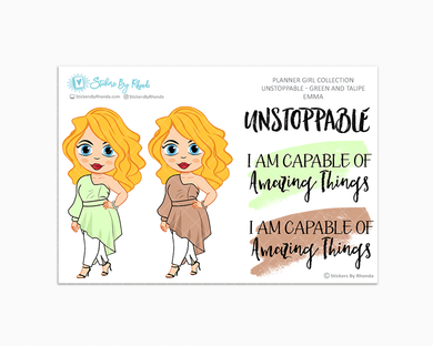 Emma - Unstoppable - Green & Taupe - Limited Edition - Quote Stickers - Planner Girl Collection - Planner Stickers