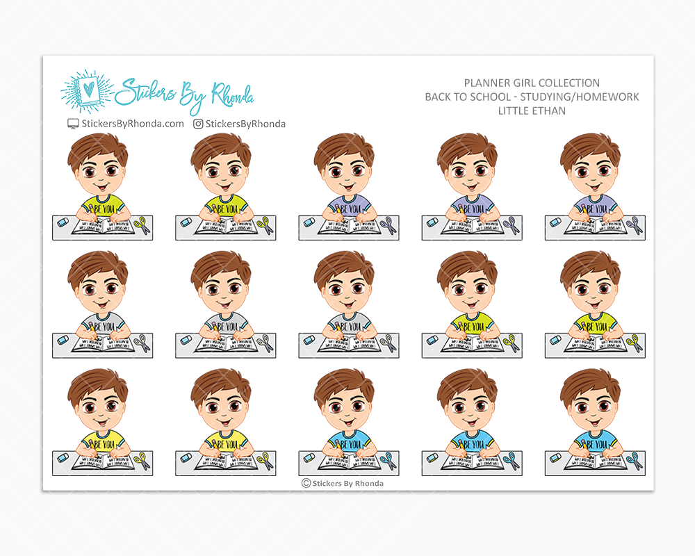 Little Ethan - Homework Study  - Back To School Stickers - Boy Stickers