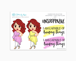 Lizzy - Unstoppable - Purple & Yellow - Limited Edition - Quote Stickers - Planner Girl Collection - Planner Stickers