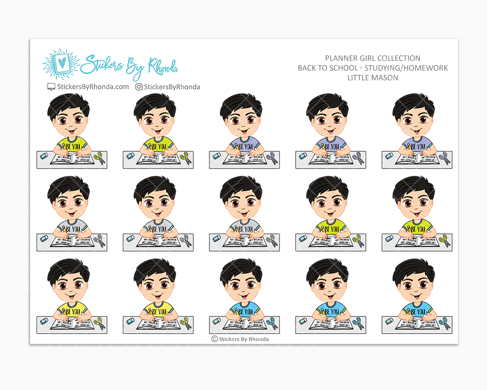 Little Mason - Homework Study  - Back To School Stickers - Boy Stickers