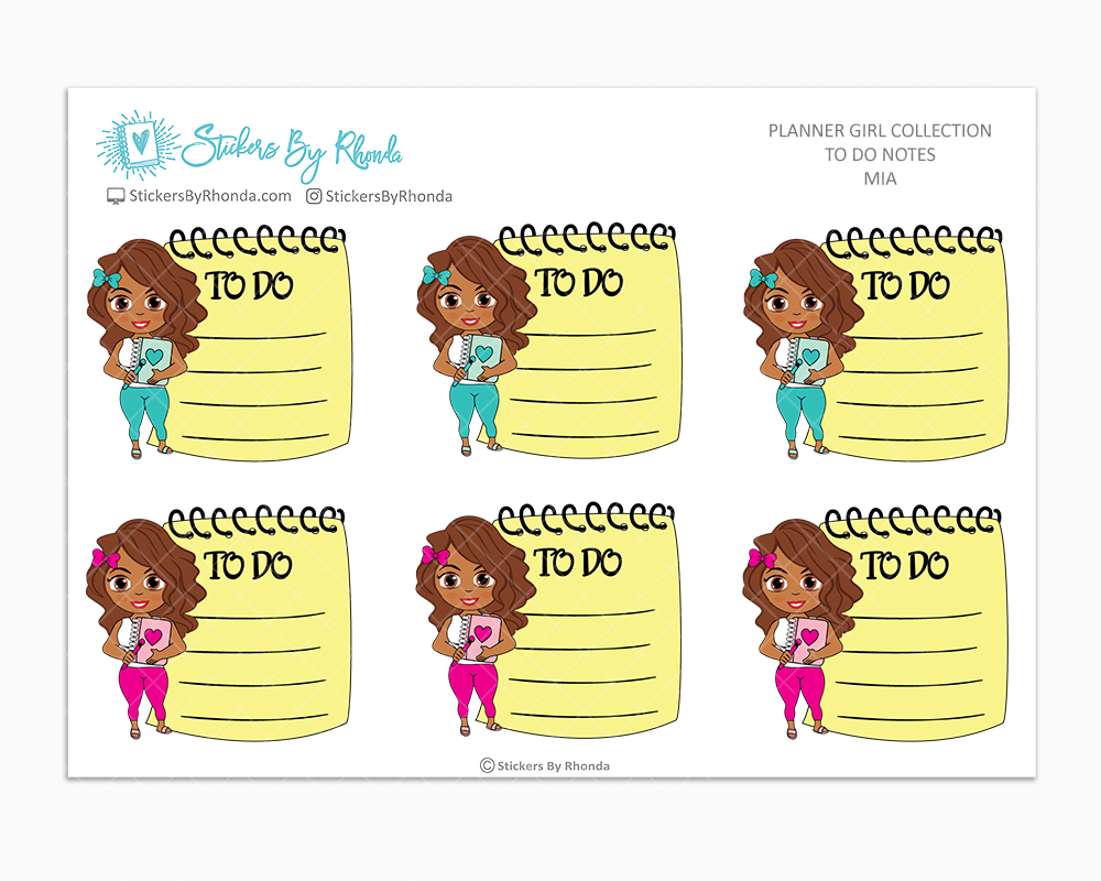 Mia - To Do Notes - Planner Stickers - Planner Girl Stickers