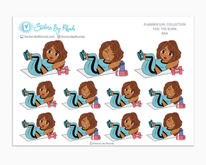 Mia - Feel The Burn - Fitness Planner Stickers - Exercise Planner Stickers