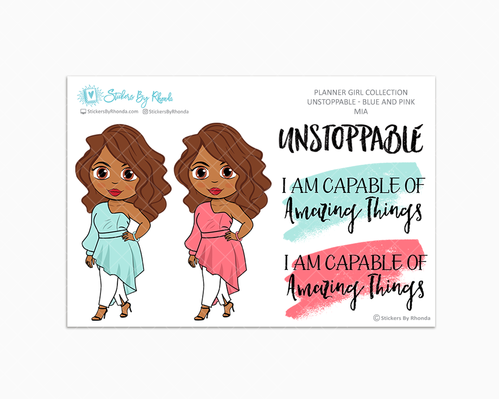 Mia - Unstoppable - Blue & Pink - Limited Edition - Quote Stickers - Planner Girl Collection - Planner Stickers