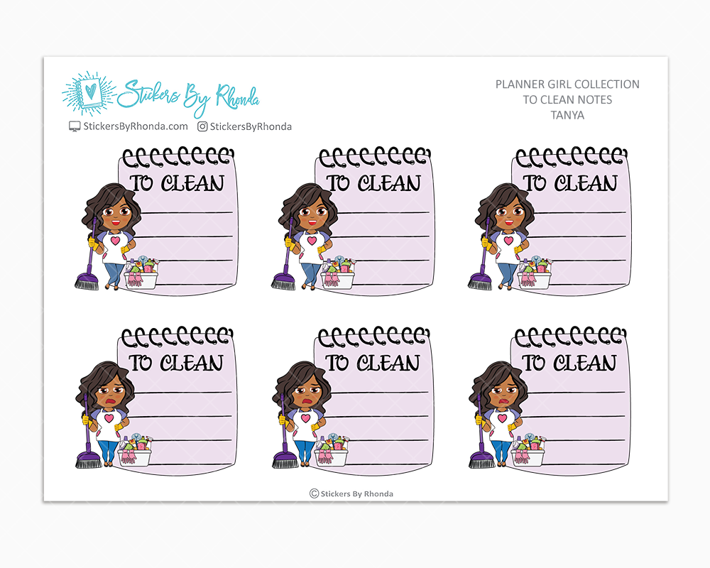 Tanya - To Clean Notes - Planner Stickers - Planner Girl Stickers