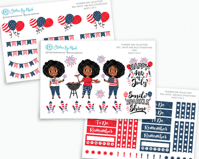 Tina - Red, White & Blue Matte Planner Stickers - Planner Girl Collection - Plan Outside The Box Sticker Pack