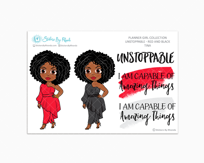 Tina - Unstoppable - Red & Black - Limited Edition - Quote Stickers - Planner Girl Collection - Planner Stickers