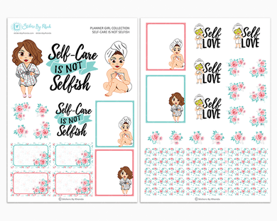 Amanda - Self-Care Is Not Selfish - Two Page Sticker Kit - Self-Care Stickers