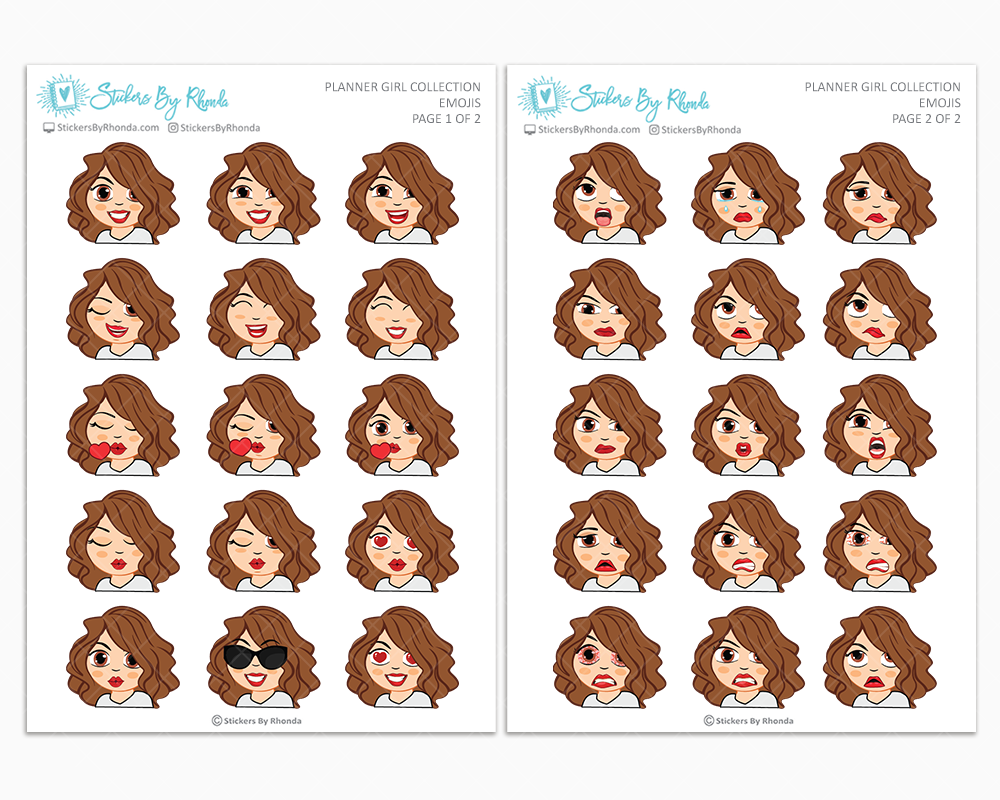 Amanda - Planner Girl Emojis - Emotion Stickers - Planner Girl Collection