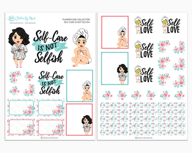 Crystal - Self-Care Is Not Selfish - Two Page Sticker Kit - Self-Care Stickers