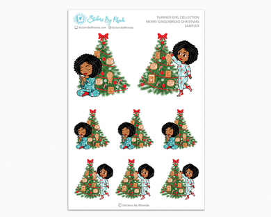 Ebony - Merry Gingerbread Christmas Sampler - Christmas Stickers - Holiday Stickers